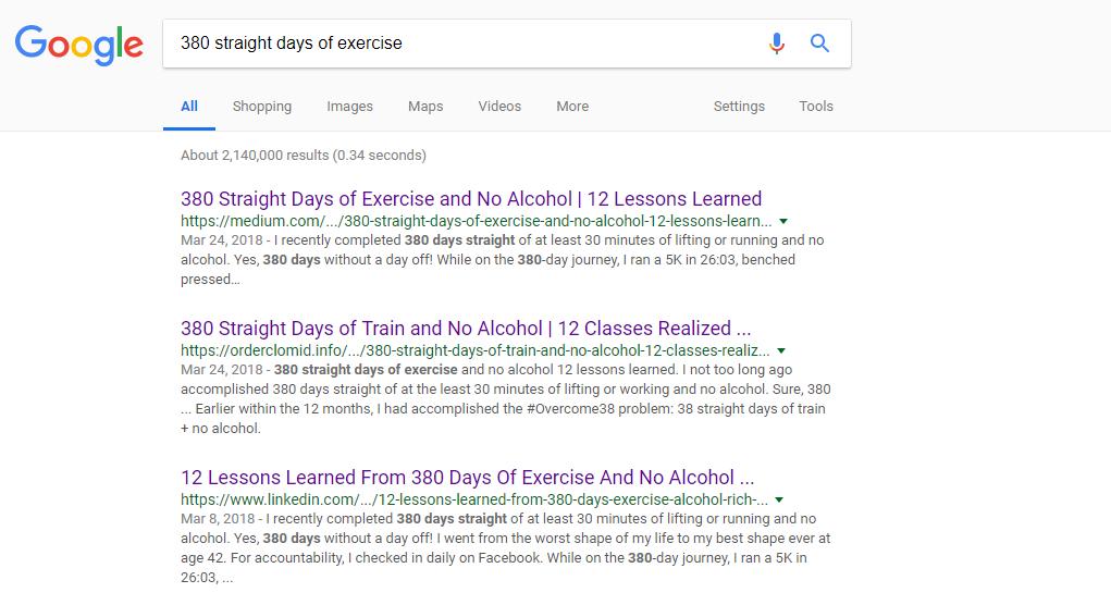 Google Search results Linkedin vs Medium