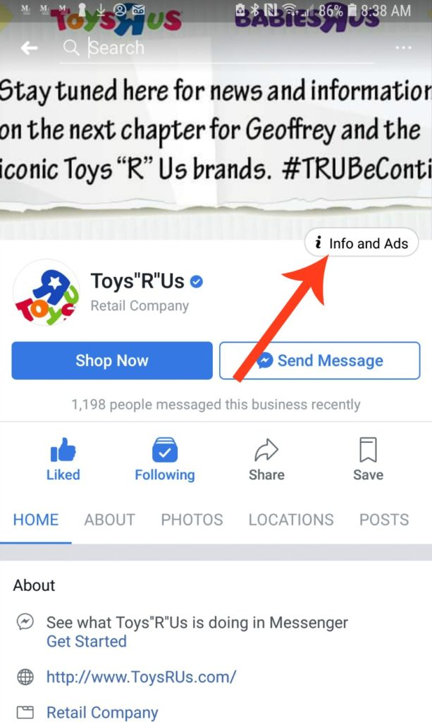Facebook Info and Ads Tab on Mobile Device
