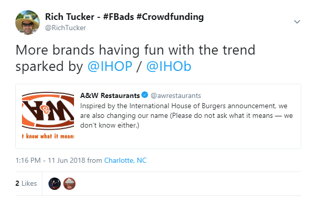 AW Restaurants Tweet