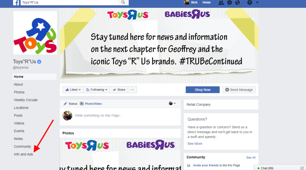 New facebook pages Ads and info tab